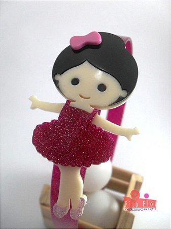 0403596cb8 Tiara (Arco) Coleção Lúdica Fita Flor Acessórios. Bailarina Pink com Glitter