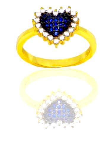 Anel coração Folheado a Ouro 18K com zircônias safira e cristal