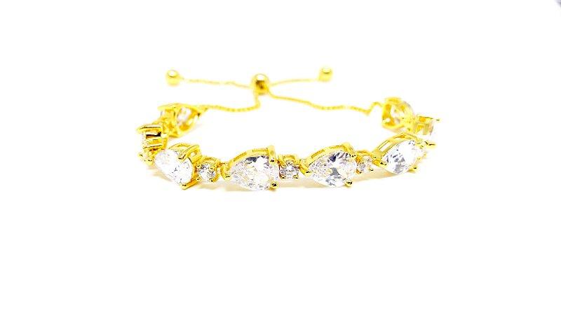 Pulseira Folheada em Ouro 18k Regulável com Zirconias Cristal