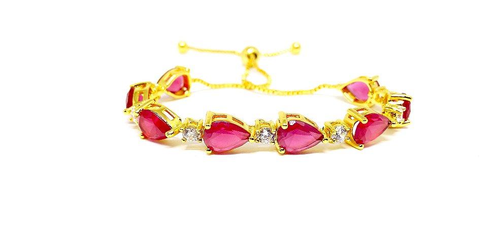 Pulseira folheada em ouro 18k regulável com zirconias na cor rubi