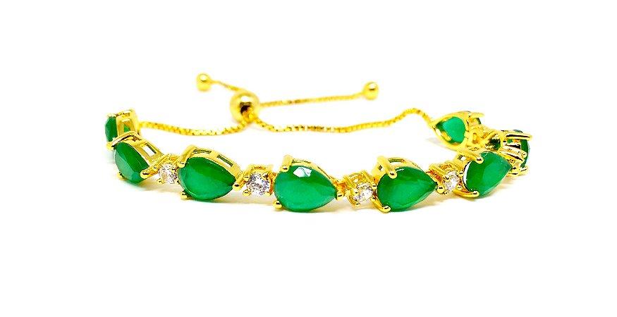Pulseira folheada a ouro 18k regulável com zirconias na cor verde esmeralda