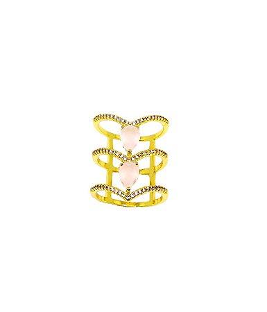 Anel folheado em ouro 18k aro triplo cravejados com micrôzirconias e com 2 zircônias na cor rosa leitosa