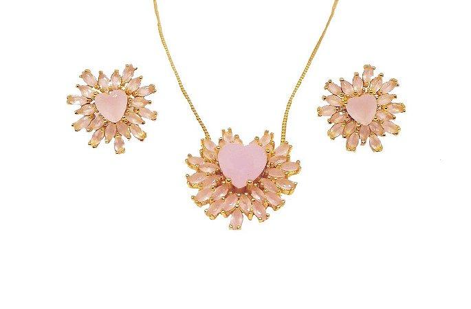 Conjunto colar e brincos pedra coração e zirconias rosa leitoso folheados a ouro 18k