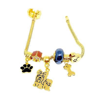Pulseira e berloques modelo pandora folheados a ouro 18k  com tema Dog