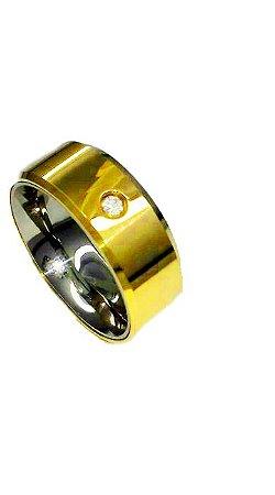Aliança de moeda 8mm reta com zircônia cravejada e lateral diamantada