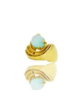 Anel com Pedra Azul Claro Folheado a Ouro 18k Aro Trabalhado