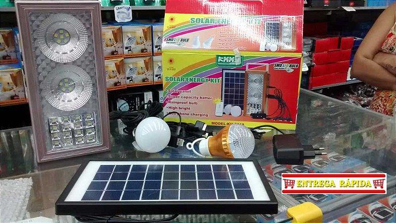 Kit Energia Solar De Emergência Painel Lâmpadas