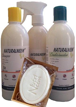 Kit Naturalneem - Shampoo + Condicionador + Colônia 500 ml + sabonete 60 Gr