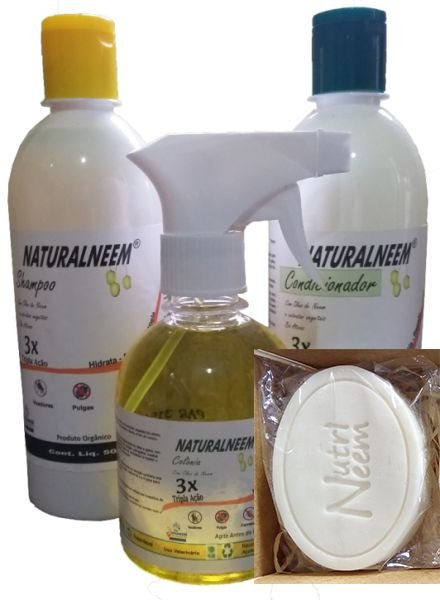 Kit Naturalneem - Shampoo Condicionador 500 ml + colônia 250 ml + sabonete 70Gr