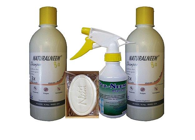 Kit Naturalneem - C/ 2 Shampoos de 500 ml + Sabonete + Pet Neem Repelente 250 ml (Kit E)
