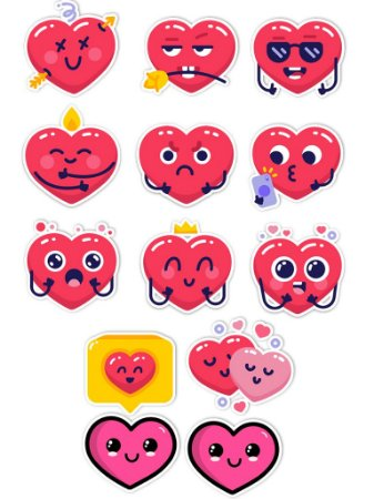 Ímãs Decorativos Coração Set A - 13 unid