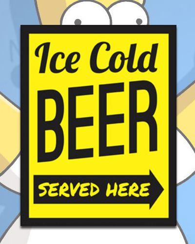 Placa Decorativa - Ice Cold Beer Served Here