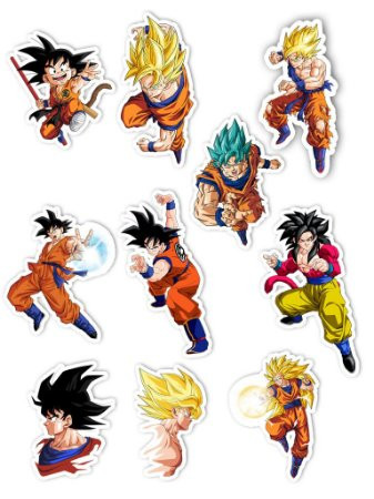 Ímãs Decorativos Dragon Ball Set C - Goku - 10 unid