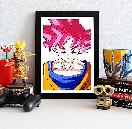 Quadro Decorativo Goku SSJ God - Dragon Ball - QV107