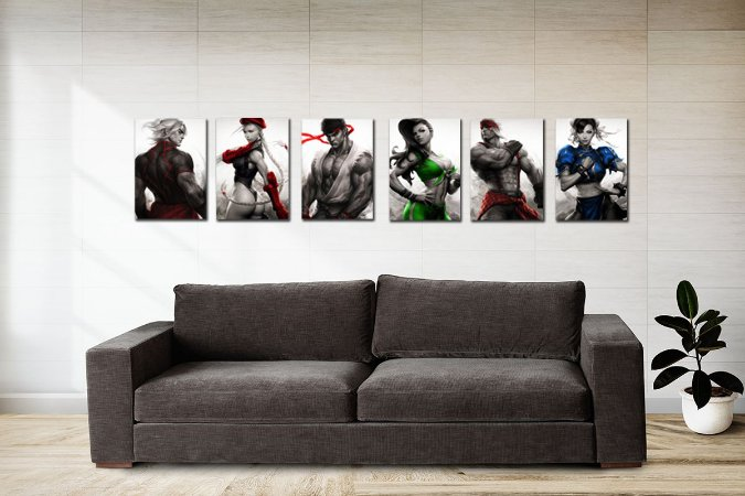 Kit 6 Placas Decorativas MDF Street Fighter - KMDF02