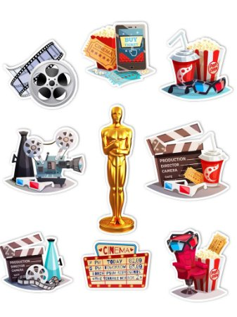 Ímãs Decorativos Cinema Set D - 9 unid