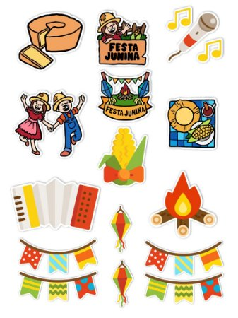 Ímãs Decorativos Festa Junina Set A - 15 unid