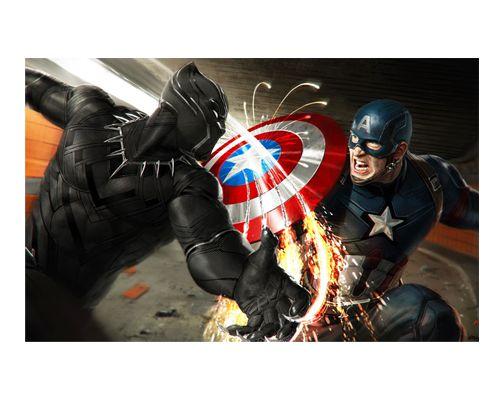 Ímã Decorativo Pantera Negra e Capitão América - Marvel Comics - IQM90