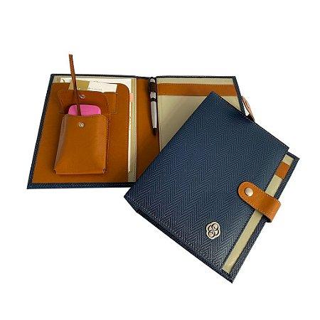 Porta Receituário e Carimbo Versalhes Azul Marinho