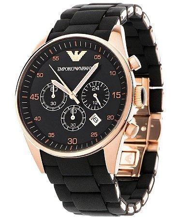 c862720b092ad Relógio Emporio Armani AR5905 em Aço Inoxidável Silicone Preto - New ...