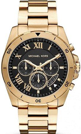 b927c42da06d4 Relógio Michael Kors Masculino Brecken Mk8481 Dourado Dial Preto ...