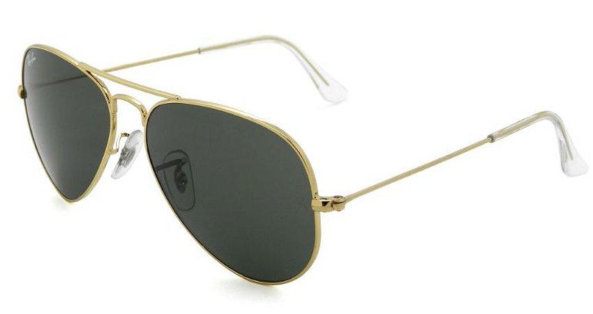 13a0e6c56ae37 Óculos de Sol Ray Ban Aviador RB3025 Dourado Lente Preta - New Store ...