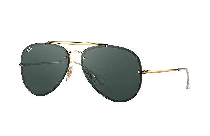 8a193ff56c611 Óculos De Sol Ray Ban RB3584-N 153 Blaze Aviador Dourado Lente Preta ...