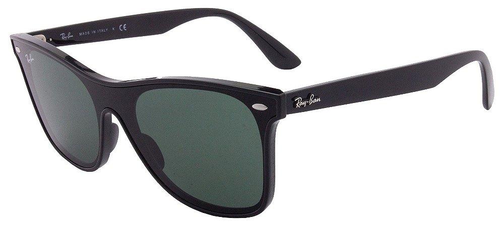 a94a592c9036f Óculos de Sol Ray Ban Blaze Wayfarer RB4440N - Preto Brilhante - New ...
