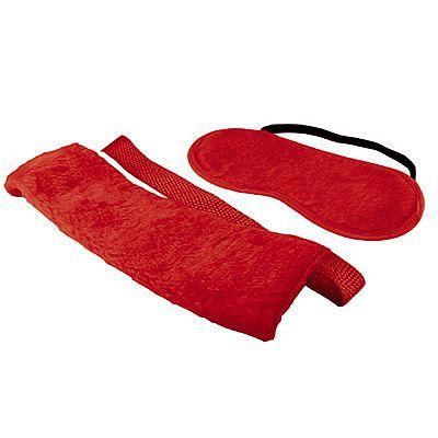 Bondage - Kit com 4 amarras e venda de pélucia - Vermelho