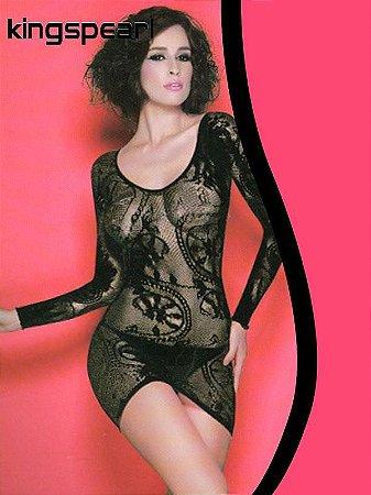 Mini-Vestido Sensual de Renda em Nylon com Elastano - Kingspear