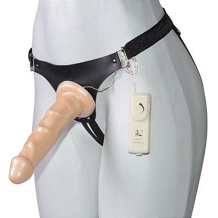 Cinta Peniana Com Pênis Bege Perolado E Vibração - Absoloo