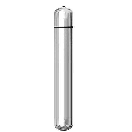 Vibrador Bullet Médio - 14x1,8cm - Prata - Ktoy