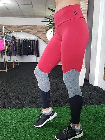 Legging Tricolor - Suplex - Vermelho/Mescla/Preto