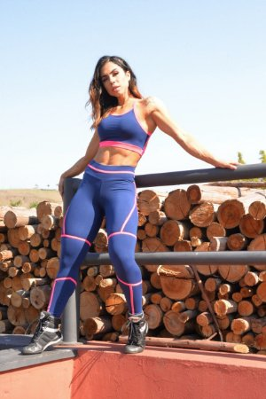 Legging Viés Slim - Suplex Power - Marinho/Rosa