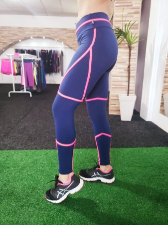 Legging Viés Slim - Suplex Power - Marinho/Rosa
