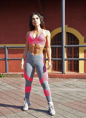 Legging Cross Training - Suplex - Mescla/Rosa