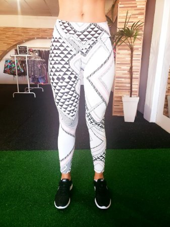 Legging Jacquard White - Branco/Rose