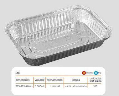 Bandeja D08 FS - 1.500ML - Microondas / Forno / Freezer - WYDA - com tampa PET - caixa com 50 unidades