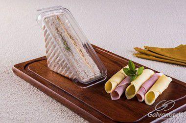 Embalagem descartável para sanduiche natural com lacre - pacote com 10 Unidades - G 565 - Galvanotek