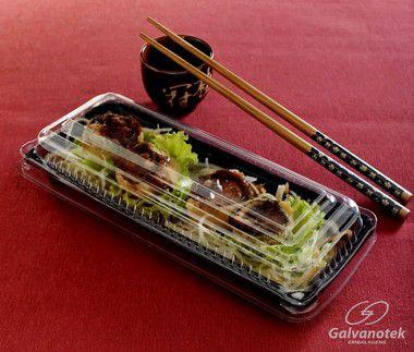 Embalagem Retangular P/ Comida Japonesa - Galvanotek GO 905 - caixa com 200 Unidades