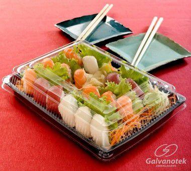 Embalagem Retangular P/ Comida Japonesa - Galvanotek GO 918 - caixa com 100 Unidades