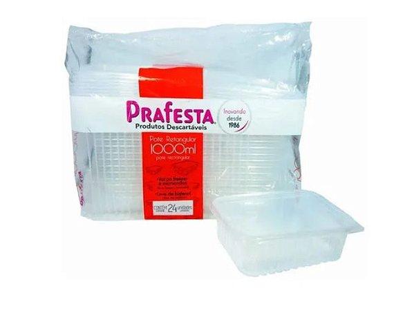 Pote retangular com tampa articulada caixa com 6 pacotes c/ 24 unidades - 1000ml - Rioplastic