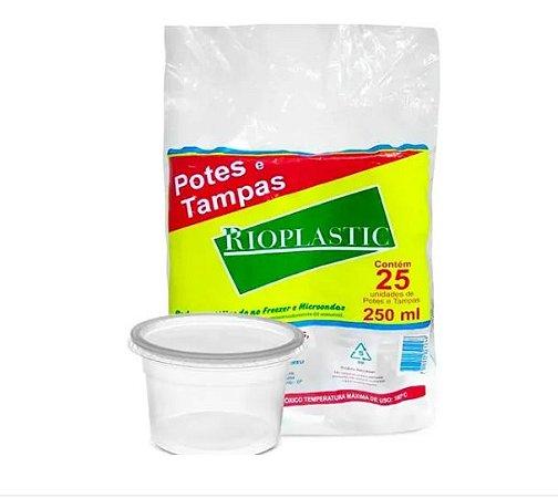 Pote retangular articulado caixa com 12 pacotes c/ 24 unidades - 250ml - Rioplastic