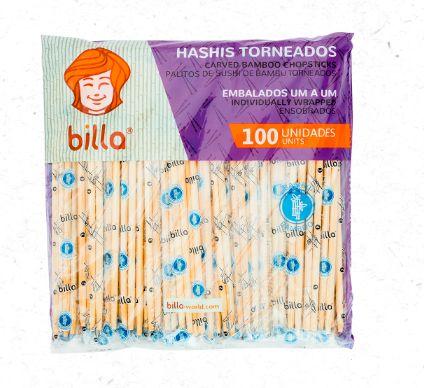 Palito hashi bambu embalado torneados caixa com 30 pacotes com 100 unidades - Billa