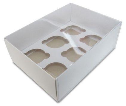 Caixa transparente para 6 cupcakes branca pacote com 5 unidades - 30X18X08 - ASSK