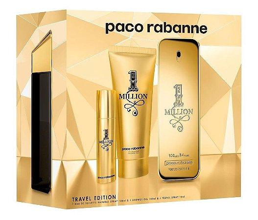 Kit 1 Million Paco Rabanne Travel Edition Eau de Toilette 100ml + Gel Banho 100ml + Travel Spray 10ml