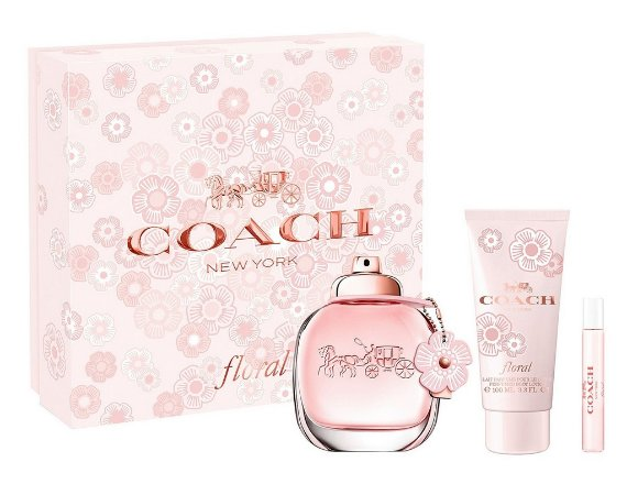 Kit Coach New York Floral Eau de Parfum 90ml + Loção Corporal 100ml + Miniatura 7,5ml