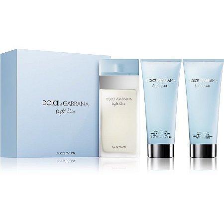 Kit Dolce & Gabbana Light Blue Travel Edition Eau de Toilette 100ML + Body Cream 100ML + Shower Gel 100ML