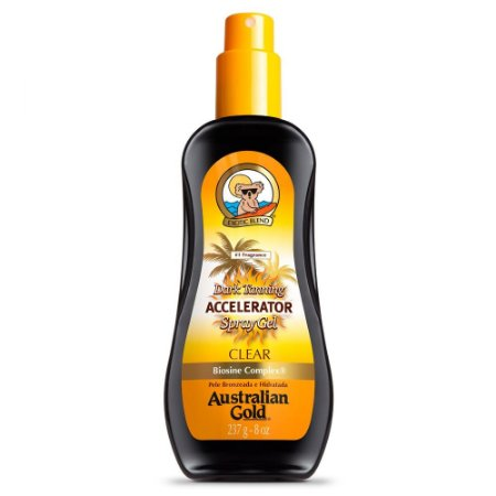 Spray Bronzeador Australian Gold Accelerator Dark Tanning Spray Gel Clear -  237ML