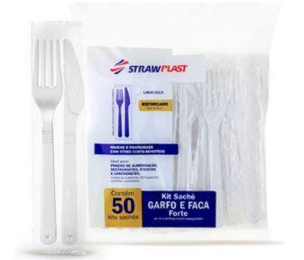 KIT Garfo e Faca forte branca  (50 unidades de cada)